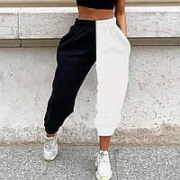 Жіночі штани чорно - білі спортивні на гумці і манжетах (р. 42-44) 8312575, фото 1