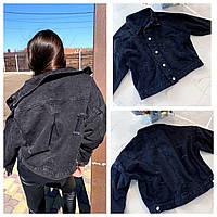 """Джинсова куртка чорна вільна з рукавами """"летюча миша"""" (р. 42-46) 8101587, фото 1"""