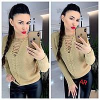 Женский свитер со шнуровкой на груди и ажурной вязкой нарядный (р. 42-46) 81dmde1099, фото 1