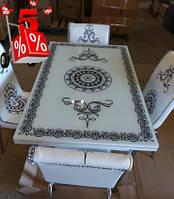 Обеденная группа комплект кухонной мебели стол и стулья,Venz каленное стекло с оригинальным декором для кухни