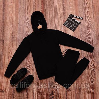 Спортивный костюм мужской черный с капюшоном двунитка весенний осенний худи со штанами