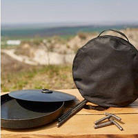 Сковорода из диска бороны 40см (с крышкой и чехлом) для костра