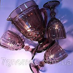 Набір 6 келихів з графіном з товстого рожевого скла Вікторі