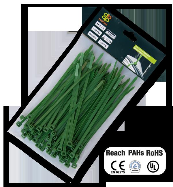 Стяжки кабельні пластикові, багаторазові, GREEN, 4,8*160 мм, TS1248160G