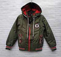 Куртка детская демисезонная для мальчика со съемным рукавом 2-6 лет, цвет хаки, фото 1