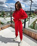 Спортивный костюм весенний женский черный красный 42-44 46-48 двунитка с капюшоном кенгуру, фото 2
