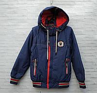 Демісезонна Куртка дитяча для хлопчика зі знімним рукавом 2-6 років, темно-синього кольору, фото 1
