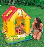 Детский надувной игровой центр (сухой бассейн домик) Intex: 142х117х122см