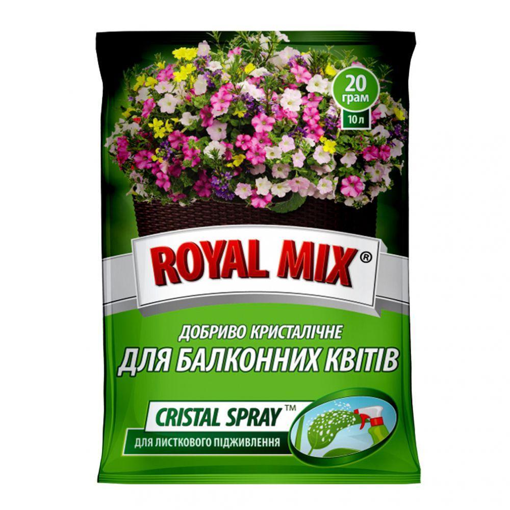 Добриво Royal Mix cristal spray для балконних квітів (N-16;P-10;K-24+мікроелем.+прилипач) 20г, Агрохімпак