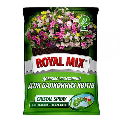 Добриво Royal Mix cristal spray для балконних квітів (N-16;P-10;K-24+мікроелем.+прилипач) 20г, Агрохімпак, фото 2