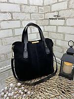 Красива та об'ємна жіноча сумка з натурального замшу та штучної шкіри, різні кольори.