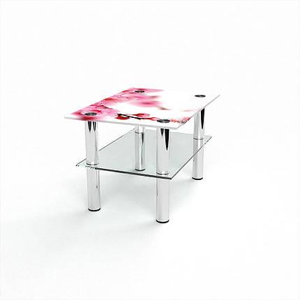 Стеклянный  стол журнальный столик из стекла БЦ Стол Прямоугольный с полкой с фотопечатью Sakura, фото 2