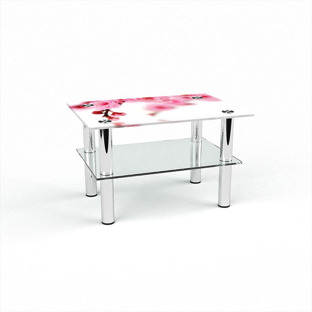Стеклянный  стол журнальный столик из стекла БЦ Стол Прямоугольный с полкой с фотопечатью Sakura