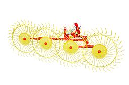 Граблі ворушилки на 5 сонечок Mokobodi (Польща) (спиця 6 мм,металеві втулки)
