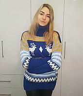 Женский вязаный удлиненный свитер с новогодним узором r3dmde791