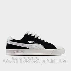 Женские кроссовки Puma Suede Black White (черные)