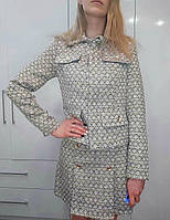 Твидовый костюм юбка и жакет трендовый с карманами на груди (р. 42-44) 45ks348R