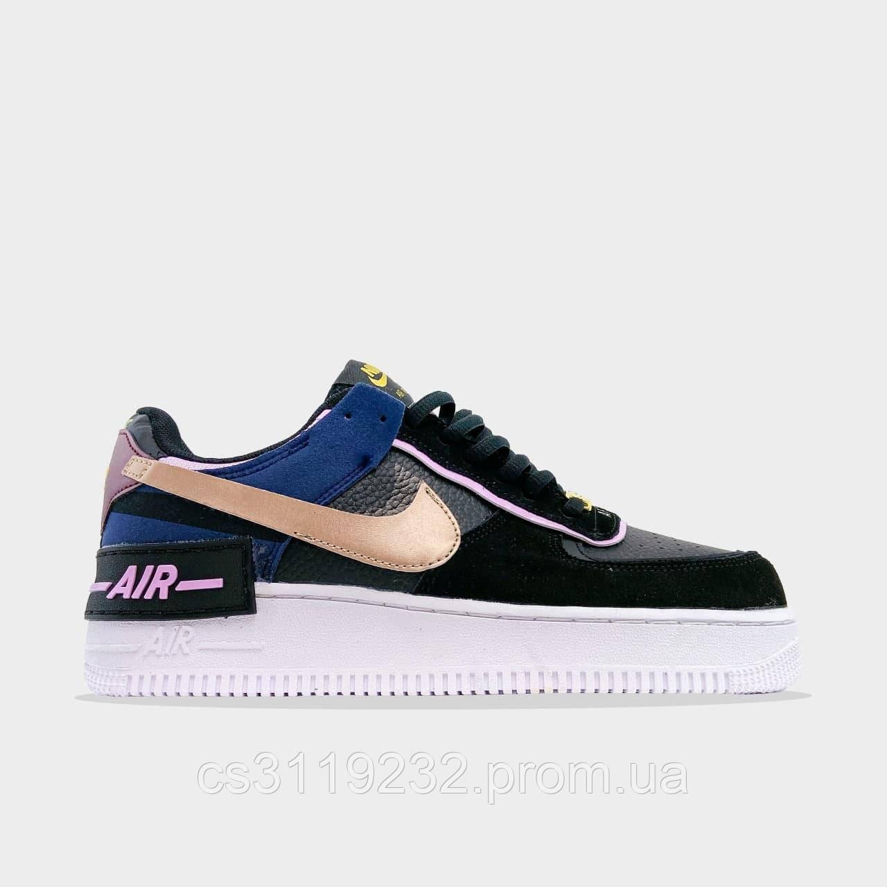 Женские кроссовки Nike Air Force 1 Shadow Black Gold (черный/золото)