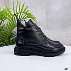 Жіночі демісезонні чорні черевики, натуральна шкіра, фото 10