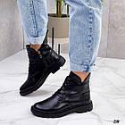 Жіночі демісезонні чорні черевики, натуральна шкіра, фото 2