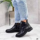Жіночі демісезонні чорні черевики, натуральна шкіра, фото 3