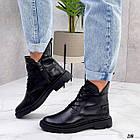Жіночі демісезонні чорні черевики, натуральна шкіра, фото 4