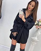 Стильное платье-рубашка с поясом на талии : чёрный мокко 42-46
