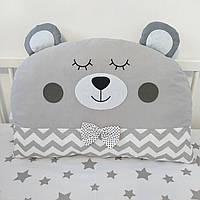 Бортик в кроватку, дитяча декоративна подушка - ведмедик великий