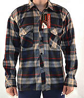 Рубашка теплая мужская на пуговицах фланель в розницу