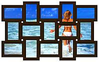 Фоторамка на стену на 15 фотографий, коричневая ( шоколад).