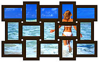 Фоторамка на стену на 15 фотографий, коричневая ( шоколад)., фото 1
