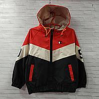 Куртка дитяча на блискавці для хлопчика з капюшоном розмір 3-6 років, колір чорний з червоним, фото 1