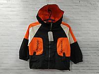 Ветровка детская на молнии для мальчика с капюшоном Change Huaimndk размер 3-6 лет, цвет черный с оранжевым, фото 1