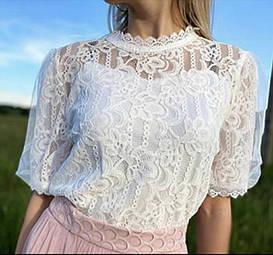 Стильная кружевная блузка гипюр 42-46 (в расцветках)