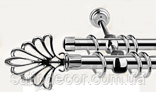 Карниз для штор металевий МОДЕРН подвійний 16+16 мм 1.6 м Хром