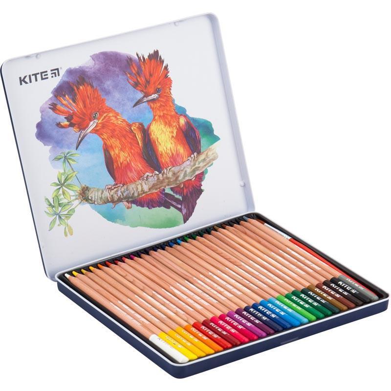 Карандаши акварельные Kite 24 цвета в металлическом пенале