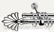 Карниз для штор металевий МОДЕРН подвійний 16+16 мм 2.4 м Хром