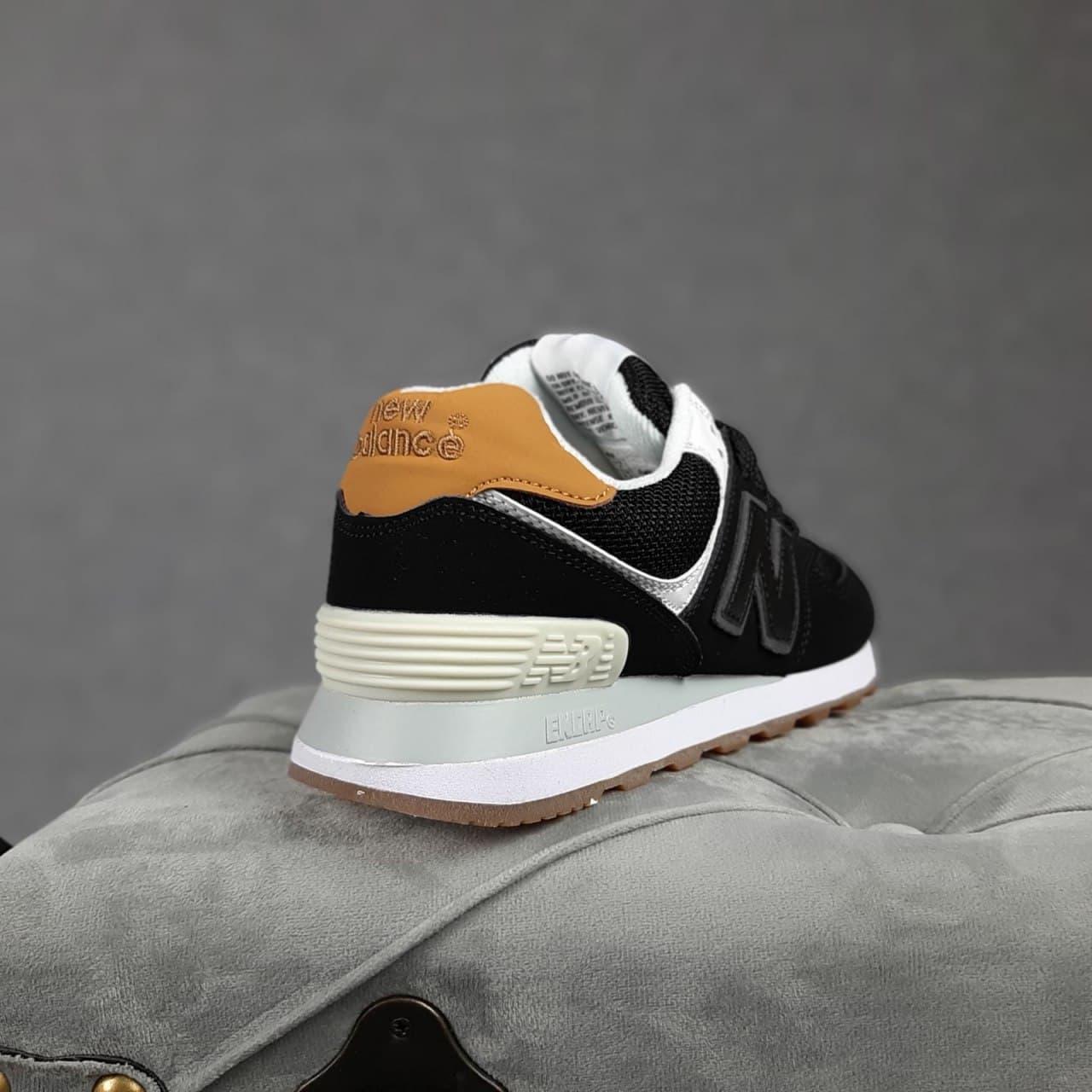 Женские кроссовки Balance 574 Чёрные коричневый задник