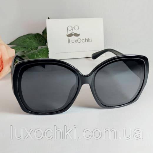 Новинка! Жіночі стильні чорні великі окуляри поляризовані