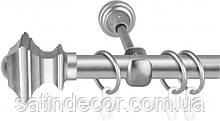 Карниз для штор металевий БОРДЖЕЗА однорядний 19мм 1.6 м Сатин нікель