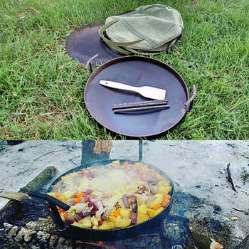 Сковорода туристична з диска, борони 40 см з кришкою і чохлом