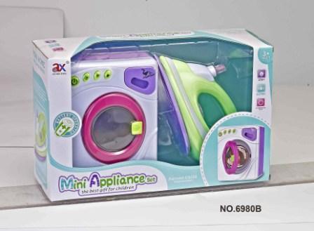 Игровой набор детской бытовой техники утюг и стиральная машина (вращается барабан), 6999, 6980B