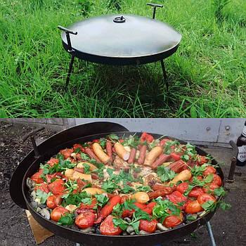 Сковорода туристическая из диска бороны 50 см с крышкой
