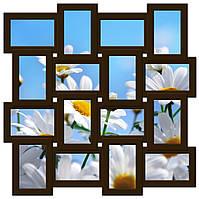 Фоторамка коллаж на стену на 16 фото, коричневая (шоколад), фото 1