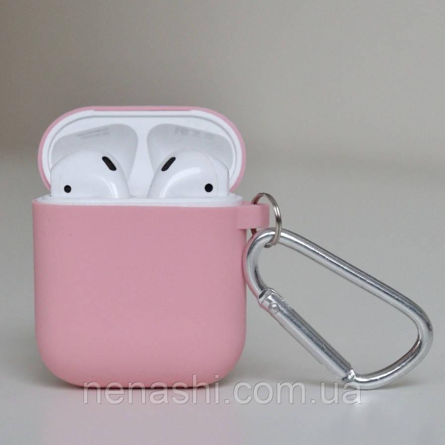 Чехол силиконовый для беспроводных наушников Apple AirPods с карабином Розовый