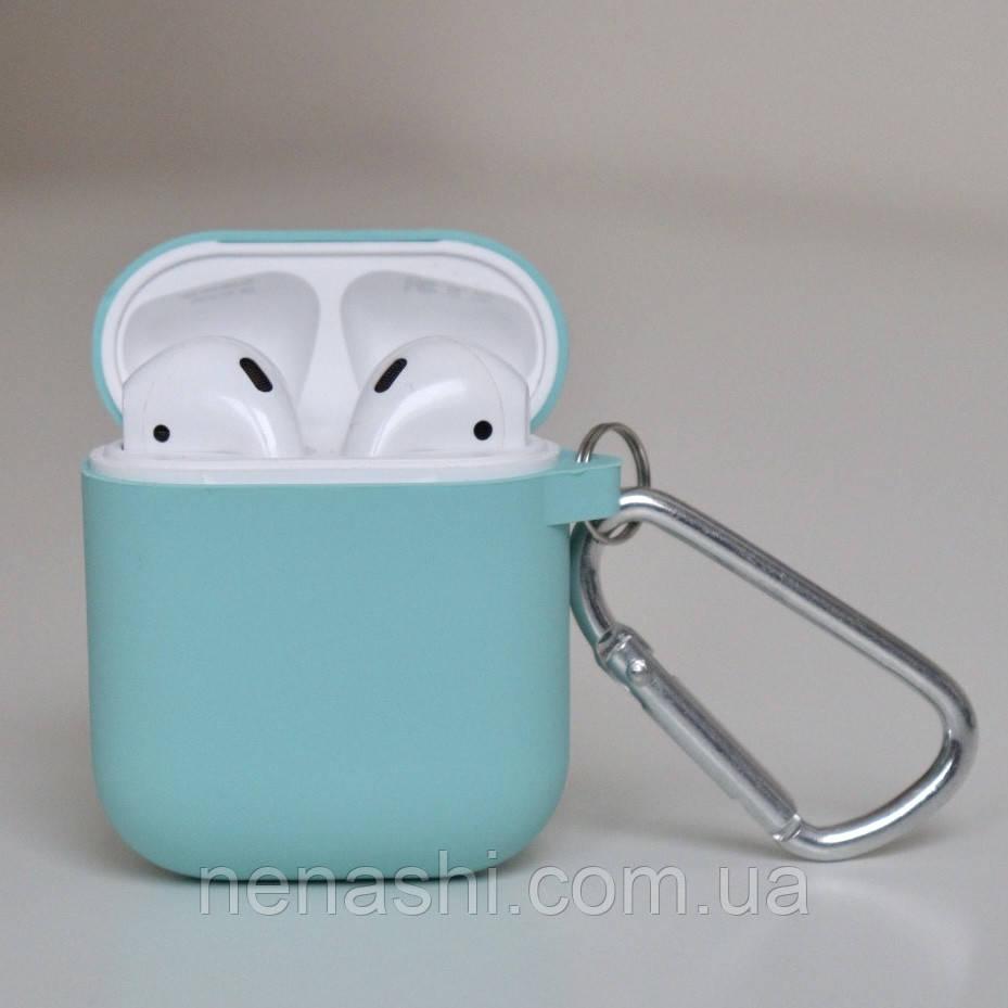 Чохол силіконовий для бездротових навушників Apple AirPods з карабіном Бірюзовий