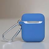 Чехол силиконовый для беспроводных наушников Apple AirPods с карабином Синий, фото 4