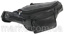 Поясна сумка, бананка шкіряна Cavaldi SS110 чорна