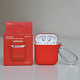 Чехол силиконовый для беспроводных наушников Apple AirPods с карабином Красный, фото 2