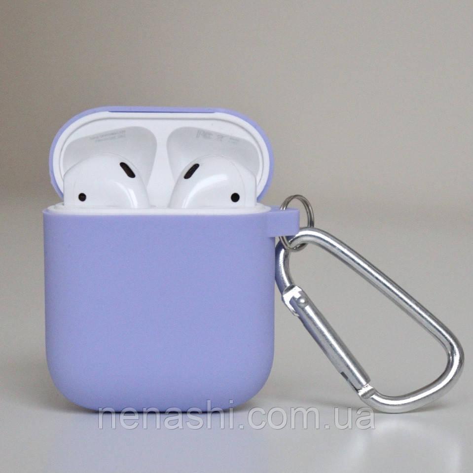 Чохол силіконовий для бездротових навушників Apple AirPods з карабіном Фіолетовий